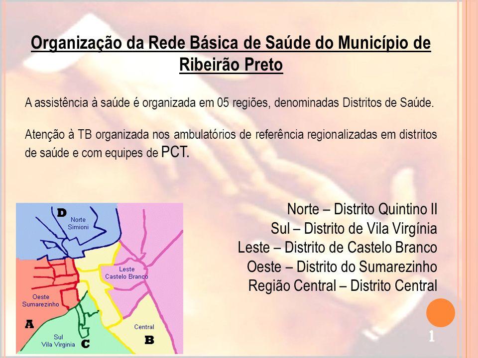 Organização da Rede Básica de Saúde do Município de Ribeirão Preto A assistência à saúde é organizada em 05 regiões, denominadas Distritos de Saúde. A