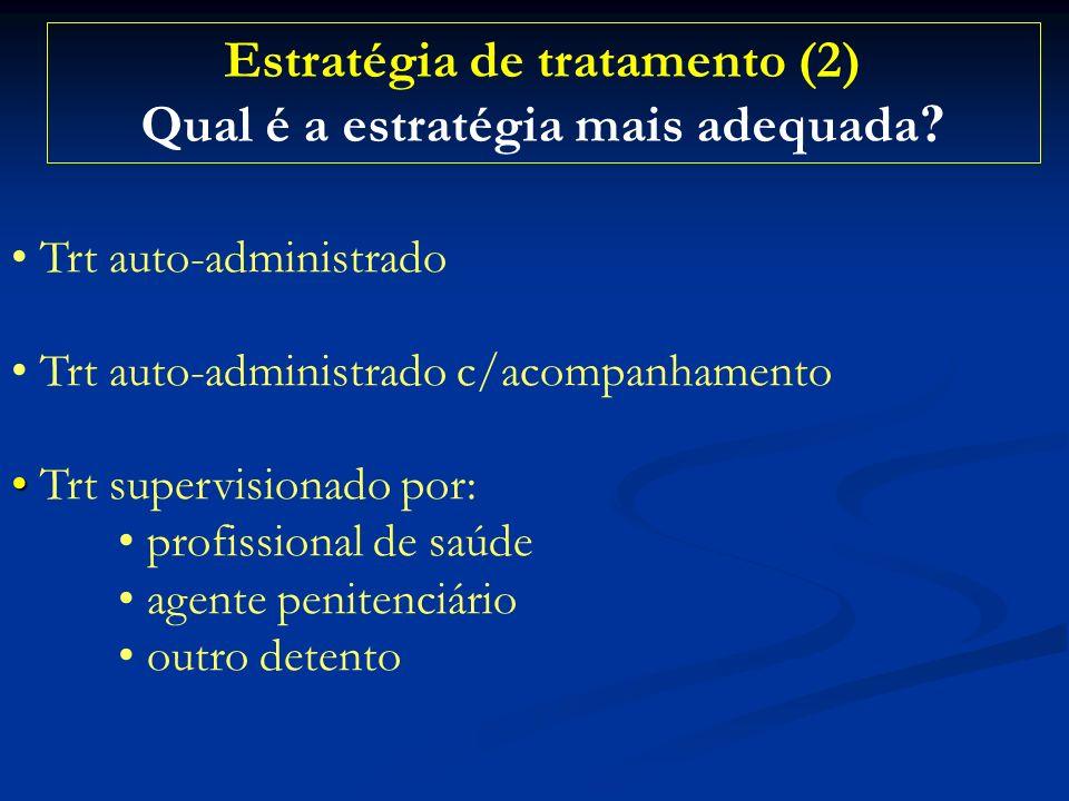 Estratégia de tratamento (2) Qual é a estratégia mais adequada ? Trt auto-administrado Trt auto-administrado c/acompanhamento Trt supervisionado por: