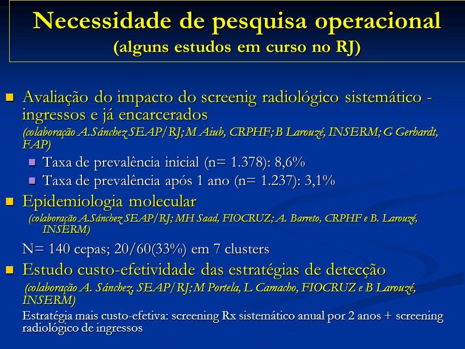 Necessidade de pesquisa operacional (alguns estudos em curso no RJ) Avaliação do impacto do screenig radiológico sistemático - ingressos e já encarcer