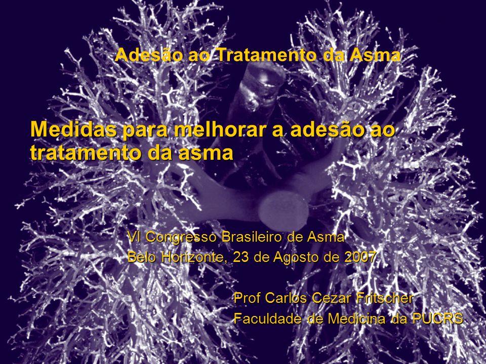 Adesão ao Tratamento da Asma Medidas para melhorar a adesão ao tratamento da asma VI Congresso Brasileiro de Asma Belo Horizonte, 23 de Agosto de 2007