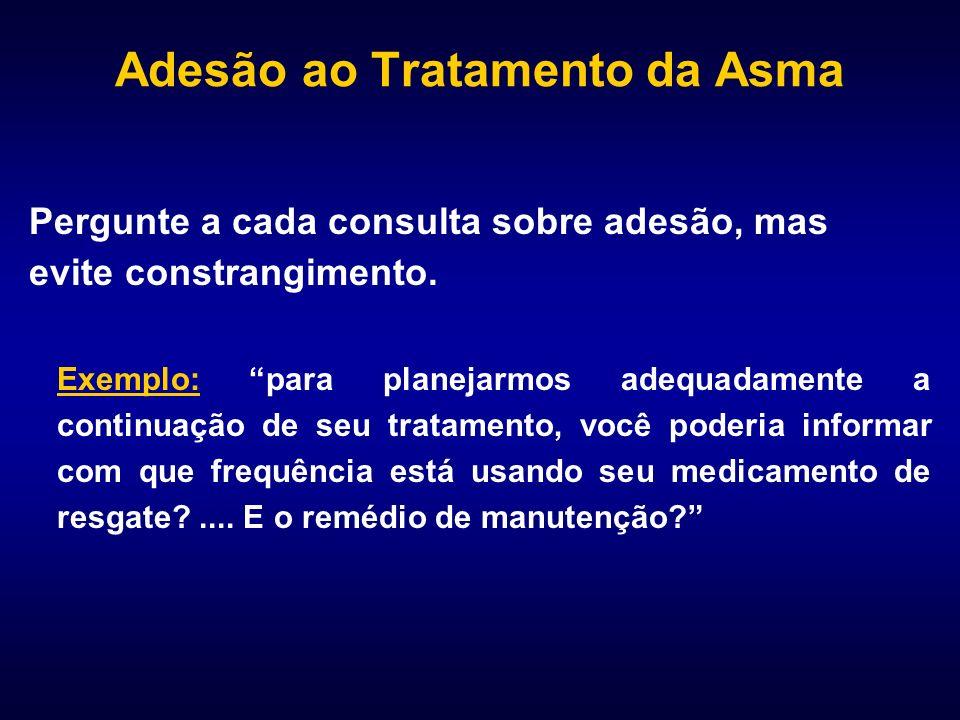 Adesão ao Tratamento da Asma Pergunte a cada consulta sobre adesão, mas evite constrangimento. Exemplo: para planejarmos adequadamente a continuação d