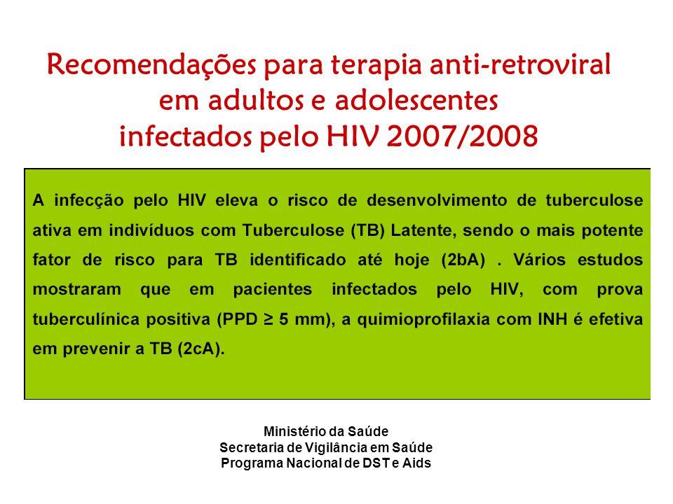 Recomendações para terapia anti-retroviral em adultos e adolescentes infectados pelo HIV 2007/2008 Ministério da Saúde Secretaria de Vigilância em Saú