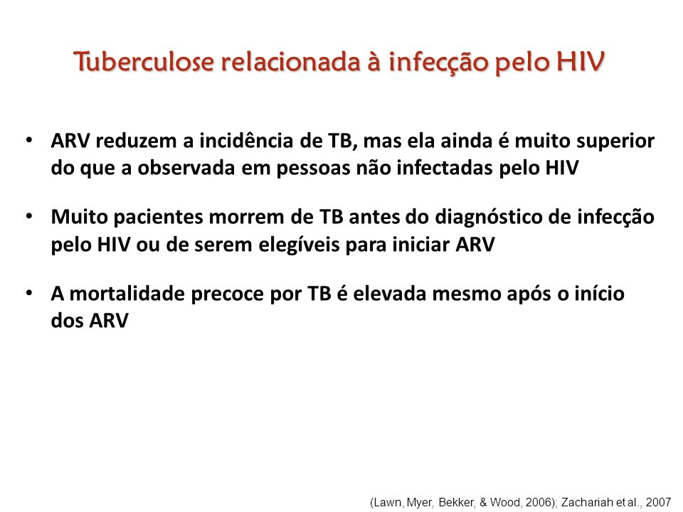 ARV reduzem a incidência de TB, mas ela ainda é muito superior do que a observada em pessoas não infectadas pelo HIV Muito pacientes morrem de TB ante