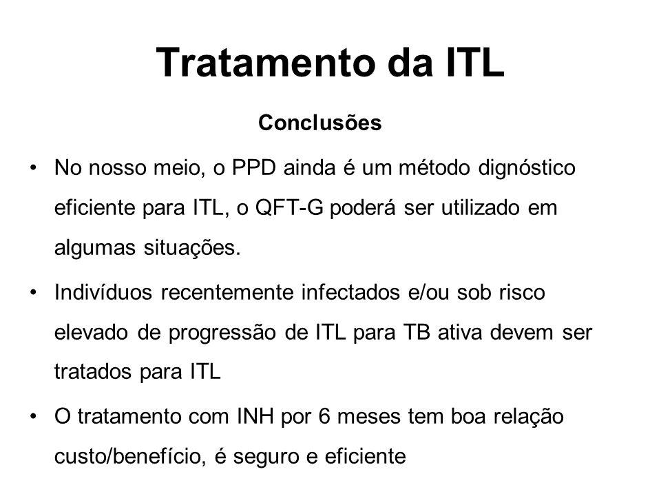 Conclusões No nosso meio, o PPD ainda é um método dignóstico eficiente para ITL, o QFT-G poderá ser utilizado em algumas situações. Indivíduos recente