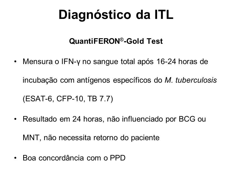 QuantiFERON ® -Gold Test Mensura o IFN-γ no sangue total após 16-24 horas de incubação com antígenos específicos do M. tuberculosis (ESAT-6, CFP-10, T