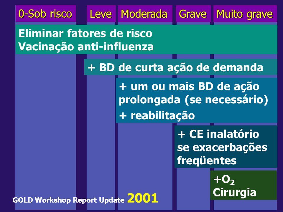 0-Sob risco LeveModeradaGrave Muito grave Eliminar fatores de risco Vacinação anti-influenza + BD de curta ação de demanda + um ou mais BD de ação pro