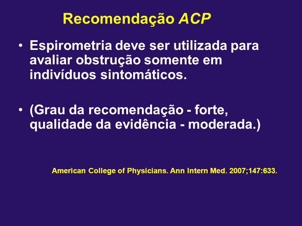 Recomendação ACP Espirometria deve ser utilizada para avaliar obstrução somente em indivíduos sintomáticos. (Grau da recomendação - forte, qualidade d