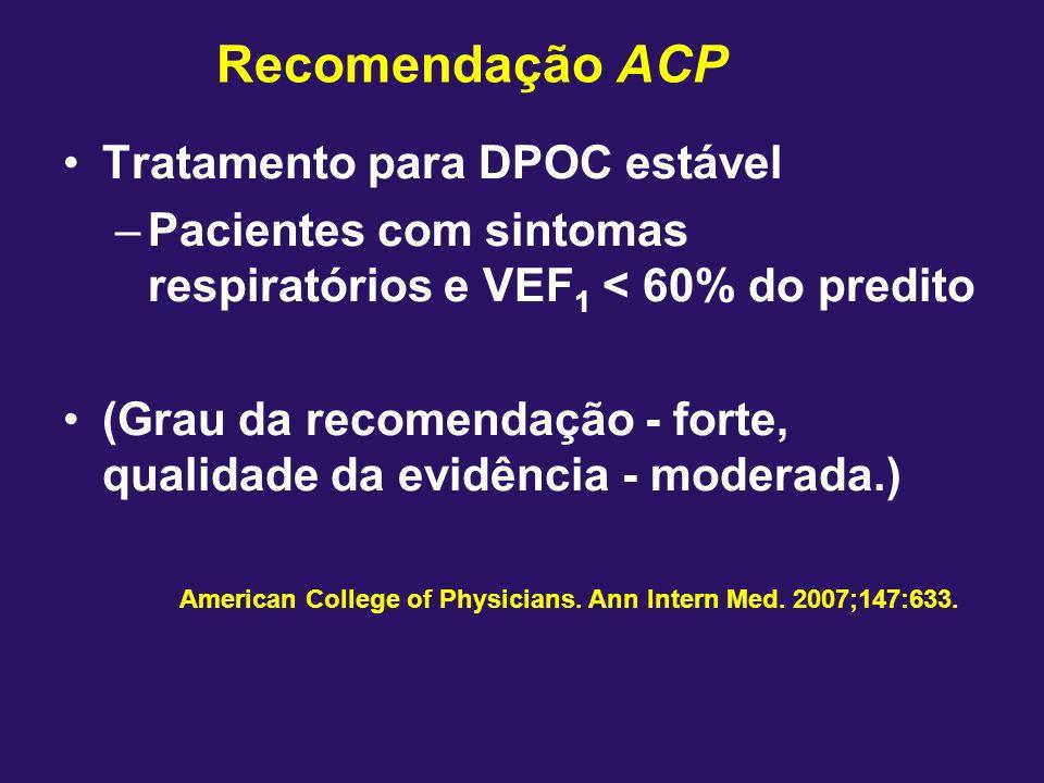 Tratamento para DPOC estável –Pacientes com sintomas respiratórios e VEF 1 < 60% do predito (Grau da recomendação - forte, qualidade da evidência - mo