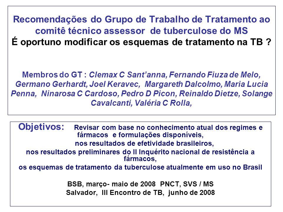 Recomendações do Grupo de Trabalho de Tratamento ao comitê técnico assessor de tuberculose do MS É oportuno modificar os esquemas de tratamento na TB .