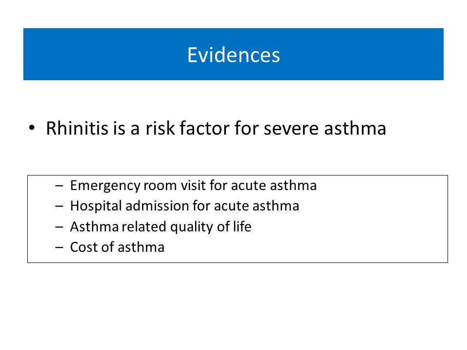 Objetivo Avaliar se o custo da asma e maior em pacientes asmáticos com rinite em comparação com pacientes sem rinite Avaliar se a gravidade dos sintomas de rinite estão associados a maior custo da asma