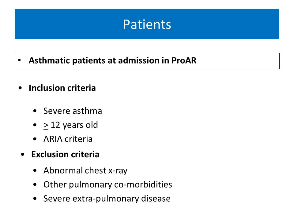 Patients Asthmatic patients at admission in ProAR Inclusion criteria Severe asthma > 12 years old ARIA criteria Exclusion criteria Abnormal chest x-ra