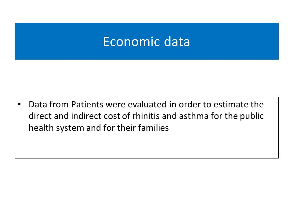 Economic data Data from Patients were evaluated in order to estimate the direct and indirect cost of rhinitis and asthma for the public health system