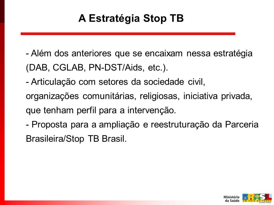- Além dos anteriores que se encaixam nessa estratégia (DAB, CGLAB, PN-DST/Aids, etc.). - Articulação com setores da sociedade civil, organizações com