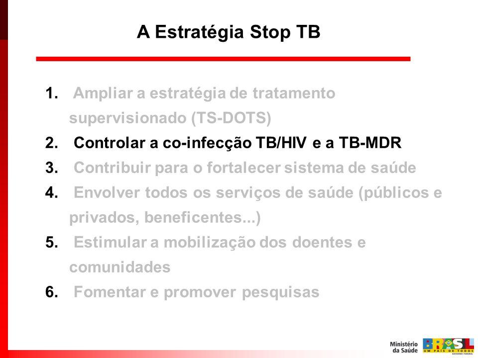 1. Ampliar a estratégia de tratamento supervisionado (TS-DOTS) 2. Controlar a co-infecção TB/HIV e a TB-MDR 3. Contribuir para o fortalecer sistema de