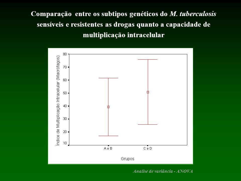 entre Comparação entre os subtipos genéticos do M. tuberculosis sensíveis e resistentes as drogas quanto a capacidade de multiplicação intracelular An