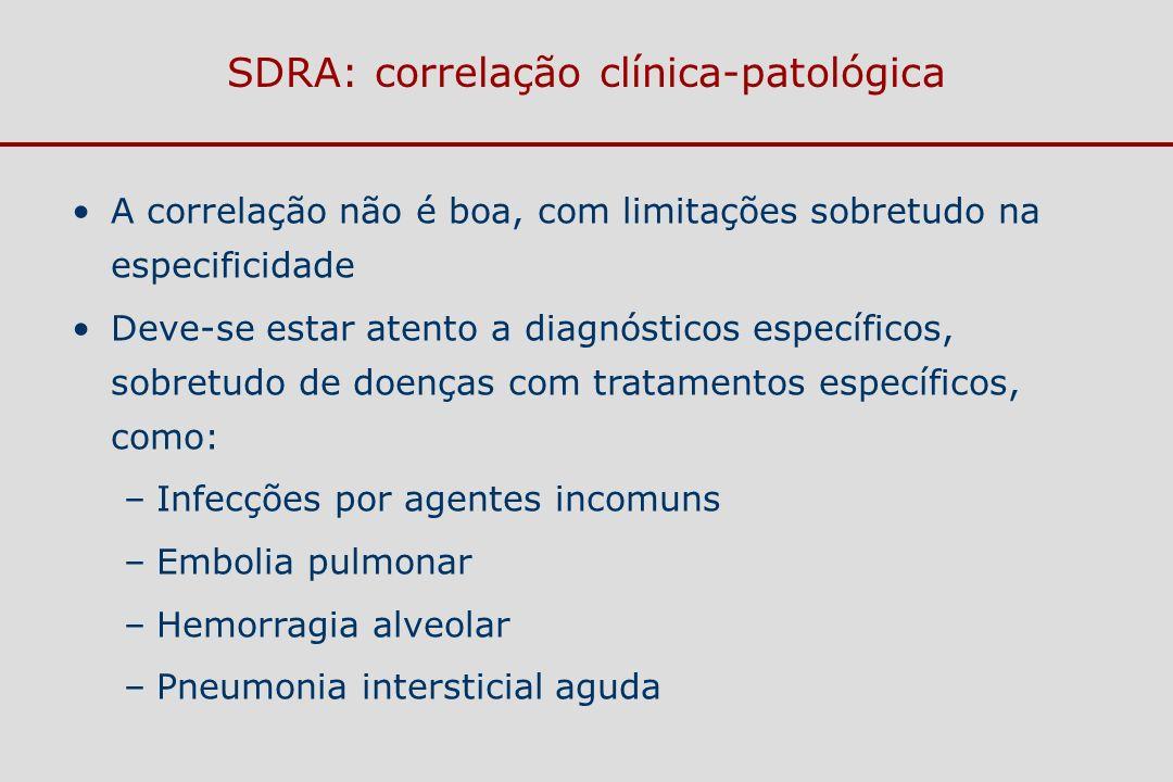 SDRA: correlação clínica-patológica A correlação não é boa, com limitações sobretudo na especificidade Deve-se estar atento a diagnósticos específicos