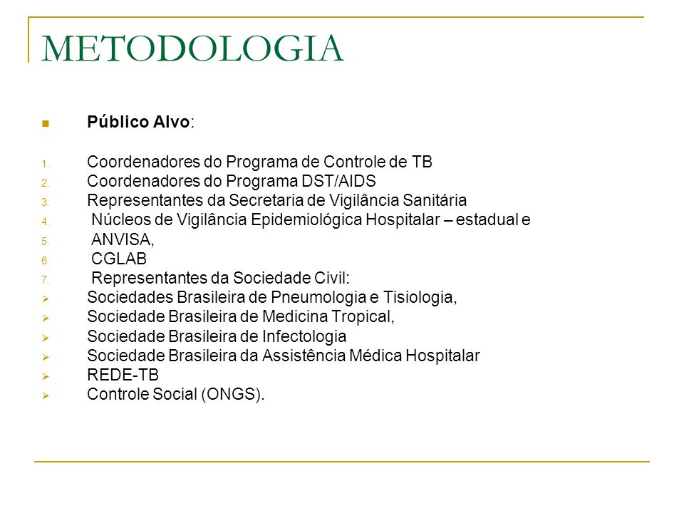 METODOLOGIA Inquérito sobre TB em hospitas 1.Preenchimento de questionário padronizado: 1.1.
