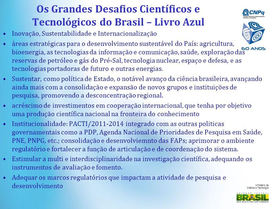 Ministério da Ciência e Tecnologia Os Grandes Desafios Científicos e Tecnológicos do Brasil – Livro Azul Inovação, Sustentabilidade e Internacionaliza