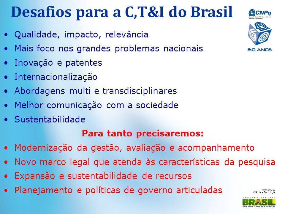 Ministério da Ciência e Tecnologia Desafios para a C,T&I do Brasil Qualidade, impacto, relevância Mais foco nos grandes problemas nacionais Inovação e