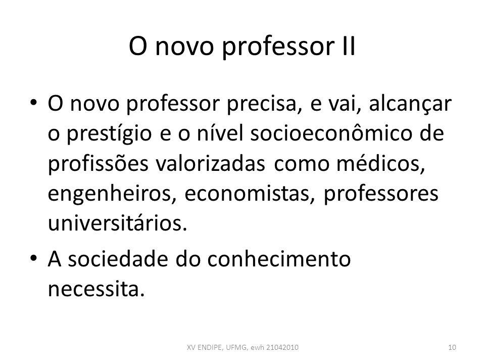 O novo professor II O novo professor precisa, e vai, alcançar o prestígio e o nível socioeconômico de profissões valorizadas como médicos, engenheiros
