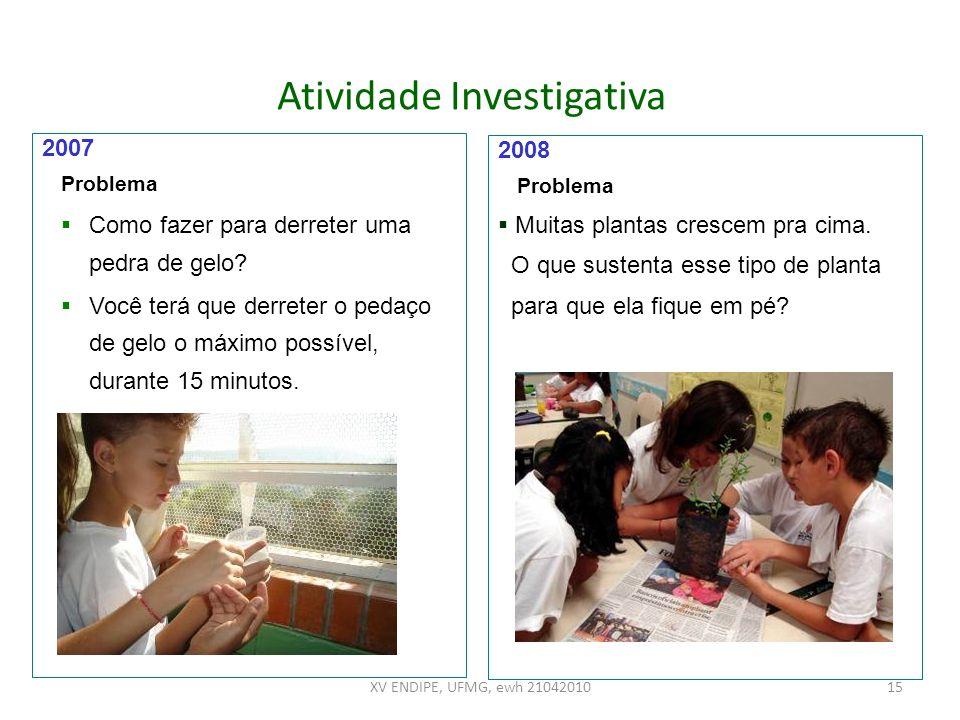 Atividade Investigativa 2007 Problema Como fazer para derreter uma pedra de gelo? Você terá que derreter o pedaço de gelo o máximo possível, durante 1