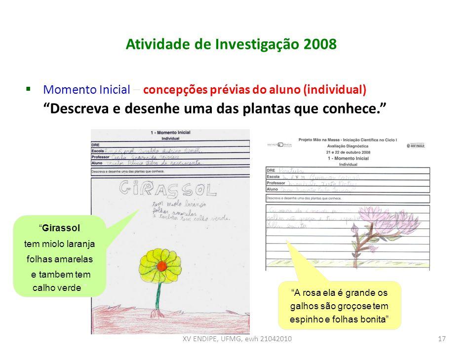 Atividade de Investigação 2008 Momento Inicial – concepções prévias do aluno (individual) Descreva e desenhe uma das plantas que conhece. Girassol tem