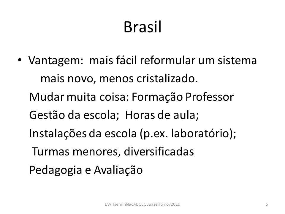 Brasil Vantagem: mais fácil reformular um sistema mais novo, menos cristalizado. Mudar muita coisa: Formação Professor Gestão da escola; Horas de aula