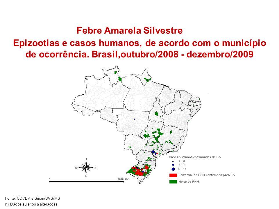 Epizootias e casos humanos, de acordo com o município de ocorrência. Brasil,outubro/2008 - dezembro/2009 Febre Amarela Silvestre Fonte: COVEV e Sinan/