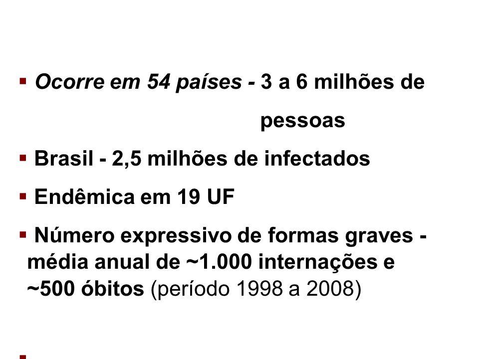 Ocorre em 54 países - 3 a 6 milhões de pessoas Brasil - 2,5 milhões de infectados Endêmica em 19 UF Número expressivo de formas graves - média anual d