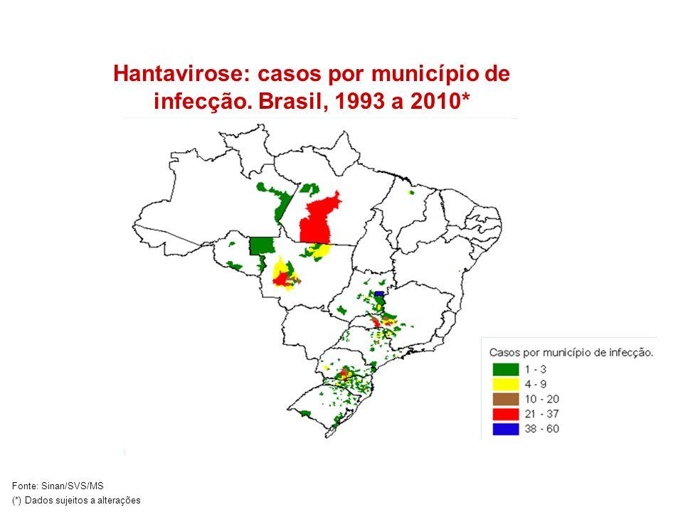 Hantavirose: casos por município de infecção. Brasil, 1993 a 2010* Fonte: Sinan/SVS/MS (*) Dados sujeitos a alterações