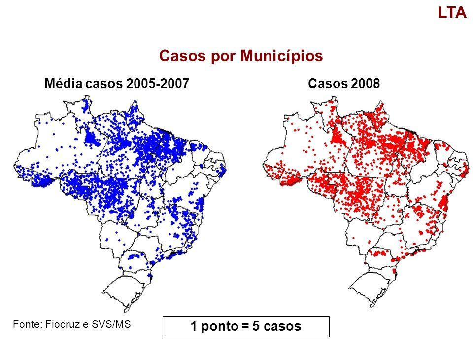 Casos por Municípios Fonte: Fiocruz e SVS/MS LTA Média casos 2005-2007Casos 2008 1 ponto = 5 casos