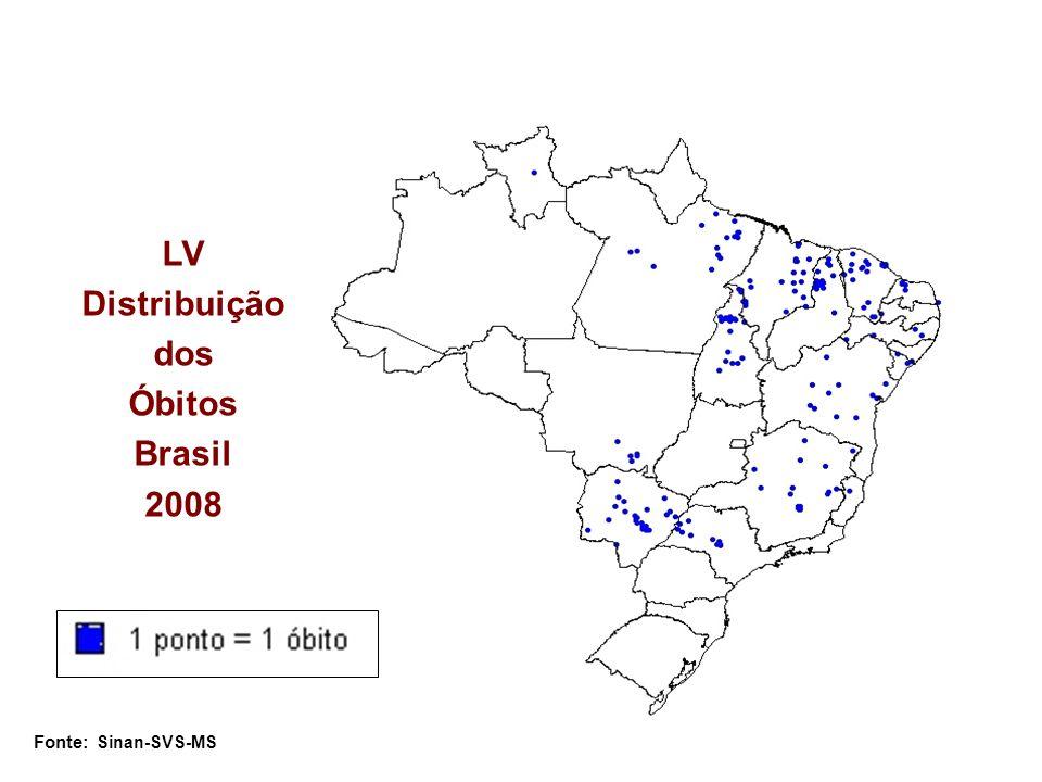 LV Distribuição dos Óbitos Brasil 2008 Fonte: Sinan-SVS-MS