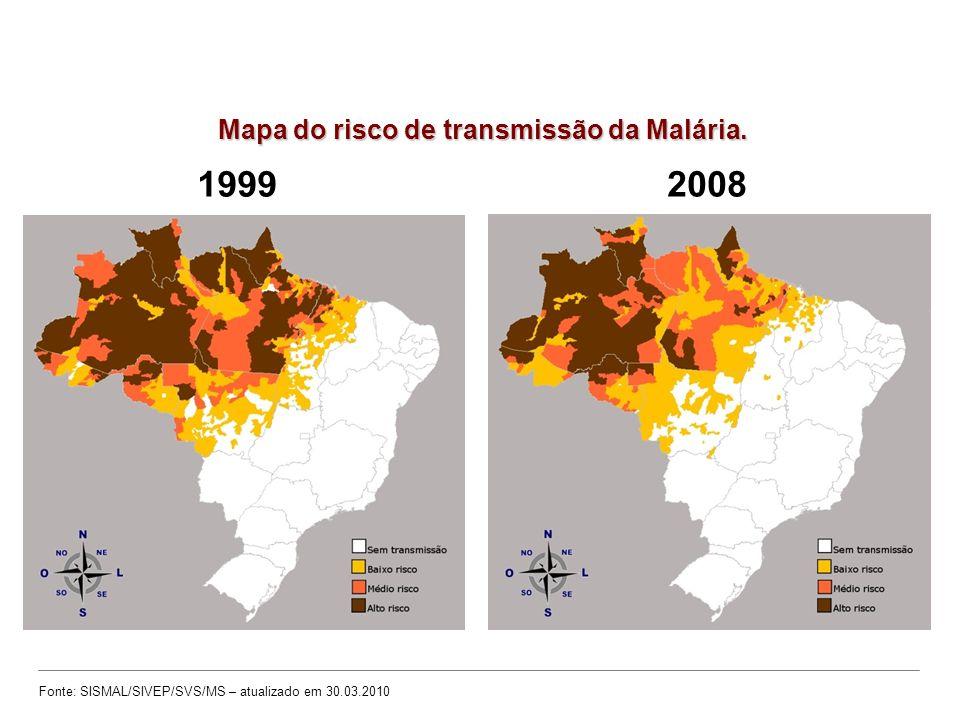 19992008 Fonte: SISMAL/SIVEP/SVS/MS – atualizado em 30.03.2010 Mapa do risco de transmissão da Malária.