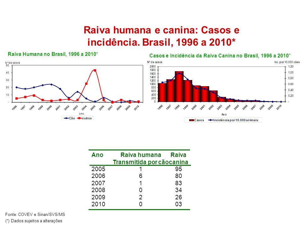 Casos e Incidência da Raiva Canina no Brasil, 1996 a 2010* Raiva Humana no Brasil, 1996 a 2010* Ano 2005 2006 2007 2008 2009 2010 Raiva humana Transmi