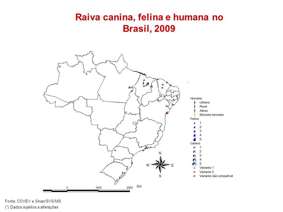 km Raiva canina, felina e humana no Brasil, 2009 Fonte: COVEV e Sinan/SVS/MS (*) Dados sujeitos a alterações