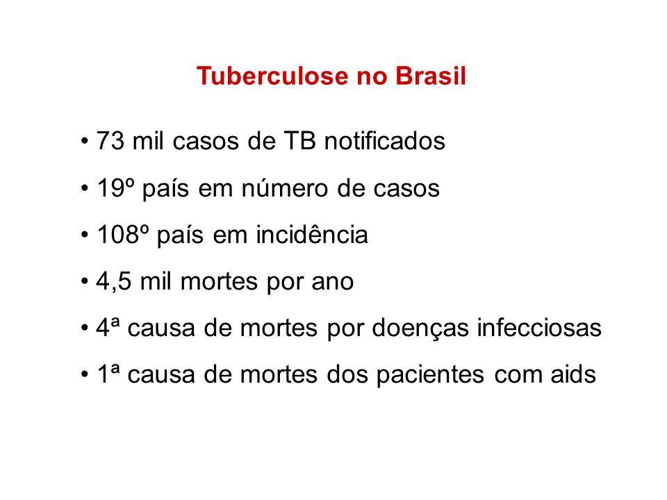 Tuberculose no Brasil 73 mil casos de TB notificados 19º país em número de casos 108º país em incidência 4,5 mil mortes por ano 4ª causa de mortes por