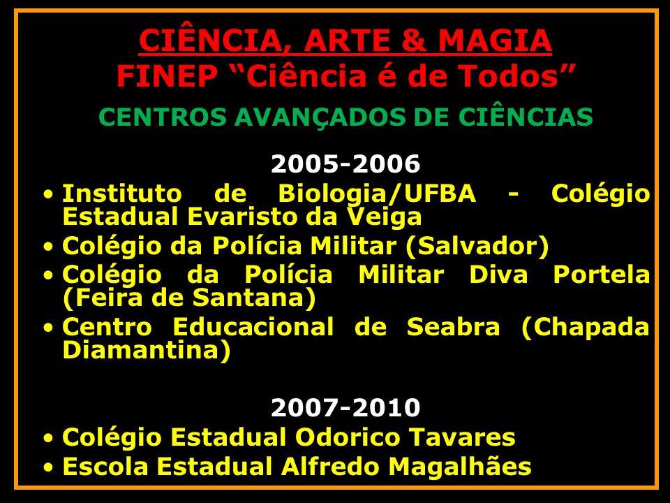 CIÊNCIA, ARTE & MAGIA FINEP Ciência é de Todos CENTROS AVANÇADOS DE CIÊNCIAS 2005-2006 Instituto de Biologia/UFBA - Colégio Estadual Evaristo da Veiga