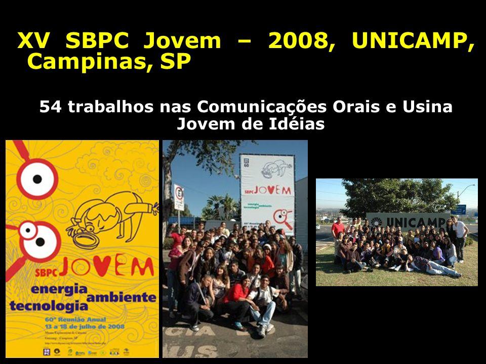XV SBPC Jovem – 2008, UNICAMP, Campinas, SP 54 trabalhos nas Comunicações Orais e Usina Jovem de Idéias
