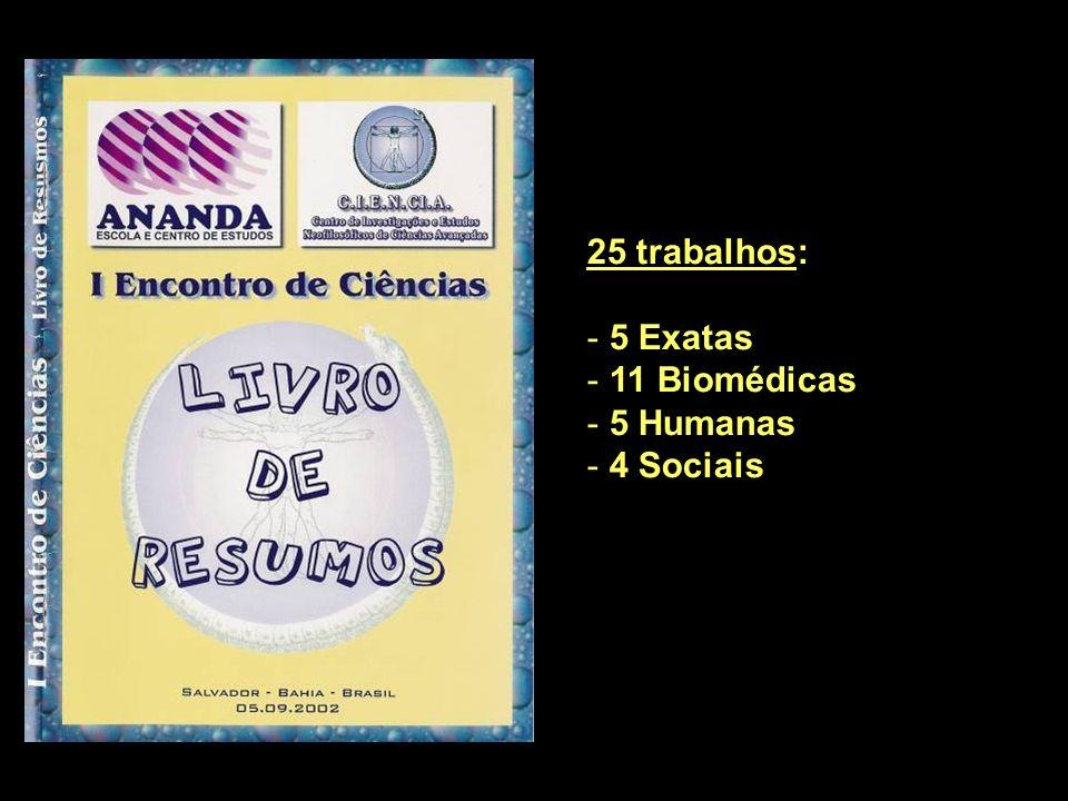 25 trabalhos: - 5 Exatas - 11 Biomédicas - 5 Humanas - 4 Sociais