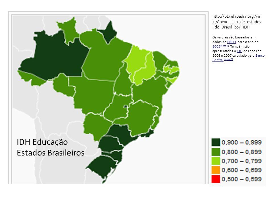IDH Educação Estados Brasileiros Os valores são baseados em dados do PNUD para o ano de 2005 [nota 1].Também são apresentadas o IDH dos anos de 2006 e