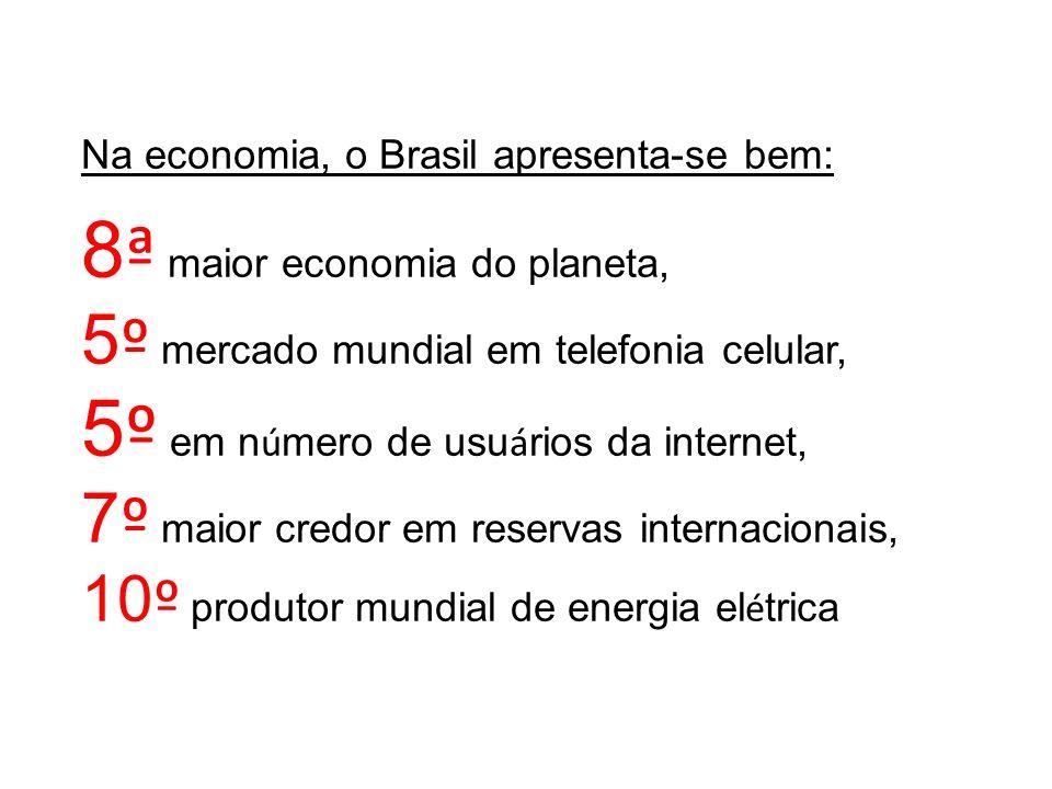 Na economia, o Brasil apresenta-se bem: 8 ª maior economia do planeta, 5 º mercado mundial em telefonia celular, 5 º em n ú mero de usu á rios da inte