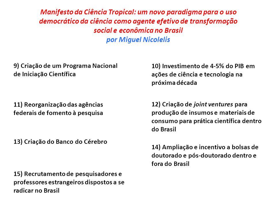 9) Criação de um Programa Nacional de Iniciação Científica 10) Investimento de 4-5% do PIB em ações de ciência e tecnologia na próxima década 13) Cria