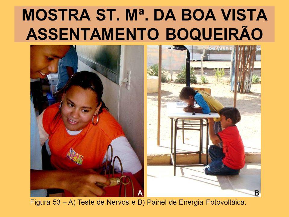 MOSTRA ST. Mª. DA BOA VISTA ASSENTAMENTO BOQUEIRÃO Figura 53 – A) Teste de Nervos e B) Painel de Energia Fotovoltáica.