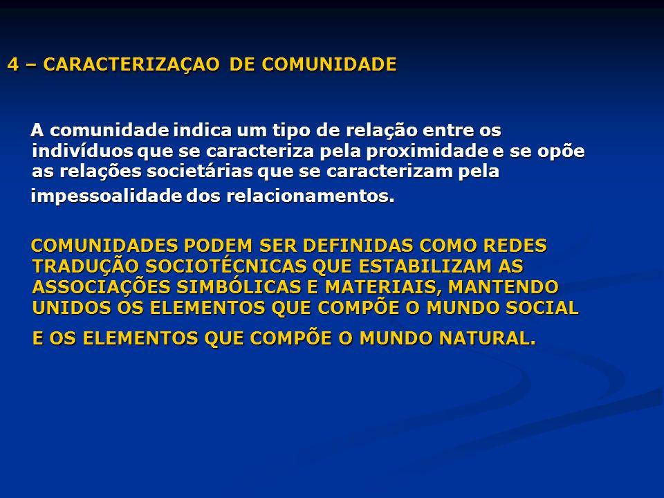 4 – CARACTERIZAÇAO DE COMUNIDADE A comunidade indica um tipo de relação entre os indivíduos que se caracteriza pela proximidade e se opõe as relações