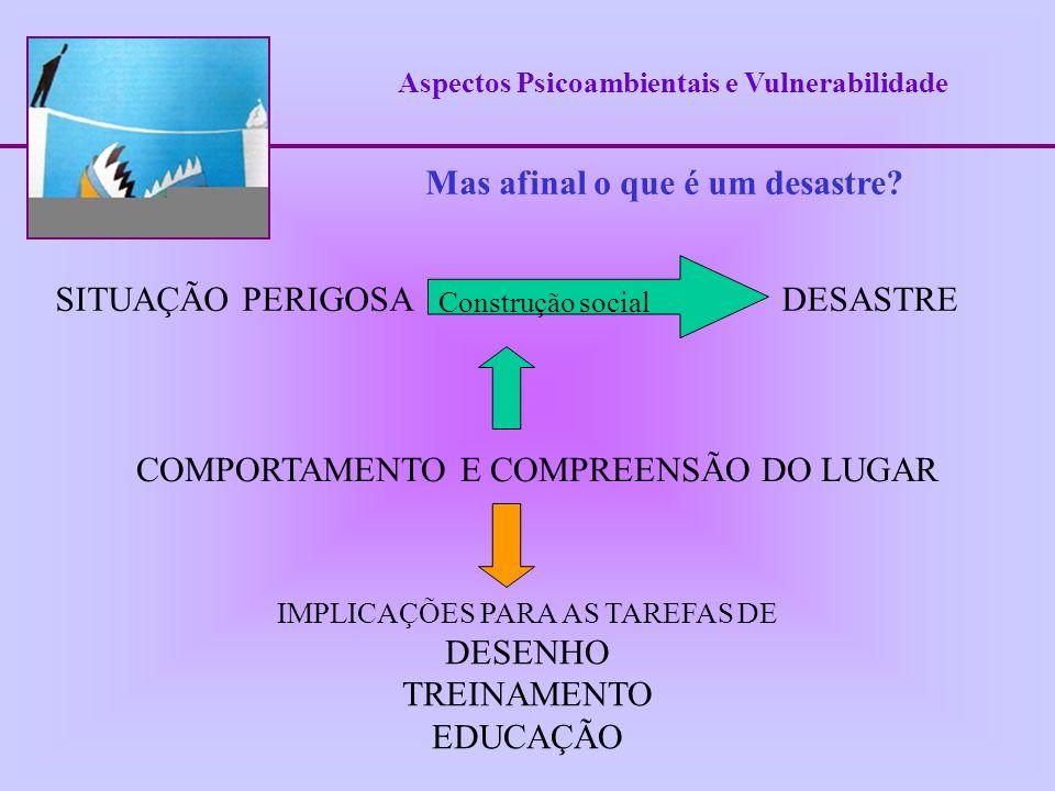 Aspectos Psicoambientais e Vulnerabilidade Perigos potenciais (emergências silenciosas) Proposta teórico-metodológica - Psicologia Ambiental (PA) PA estuda a relação recíproca entre pessoas e ambientes naturais e construídos.