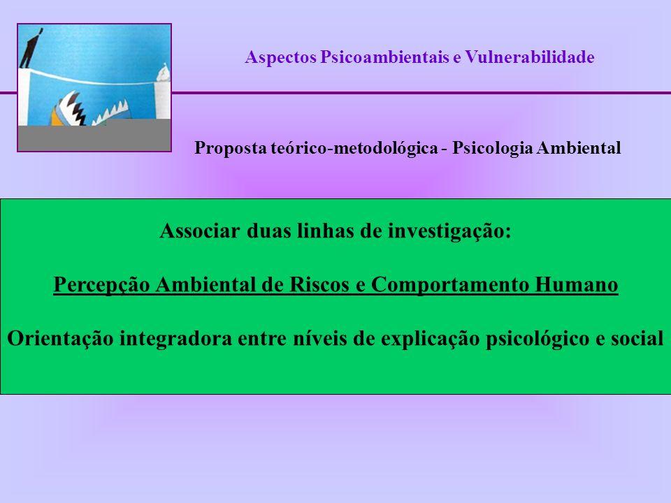 Aspectos Psicoambientais e Vulnerabilidade Associar duas linhas de investigação: Percepção Ambiental de Riscos e Comportamento Humano Orientação integ