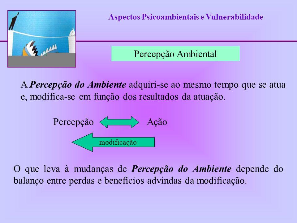Aspectos Psicoambientais e Vulnerabilidade A Percepção do Ambiente adquiri-se ao mesmo tempo que se atua e, modifica-se em função dos resultados da at