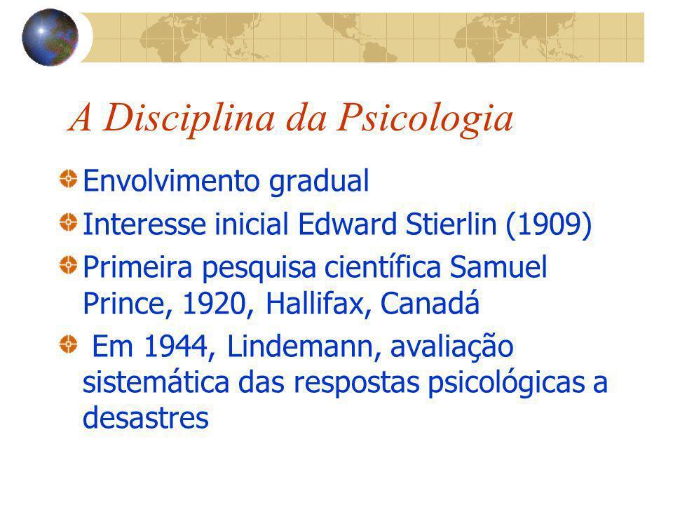 A Disciplina da Psicologia Envolvimento gradual Interesse inicial Edward Stierlin (1909) Primeira pesquisa científica Samuel Prince, 1920, Hallifax, C