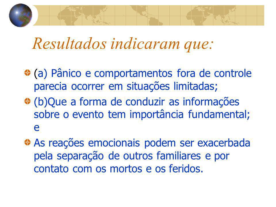 Resultados indicaram que: (a) Pânico e comportamentos fora de controle parecia ocorrer em situações limitadas; (b)Que a forma de conduzir as informaçõ