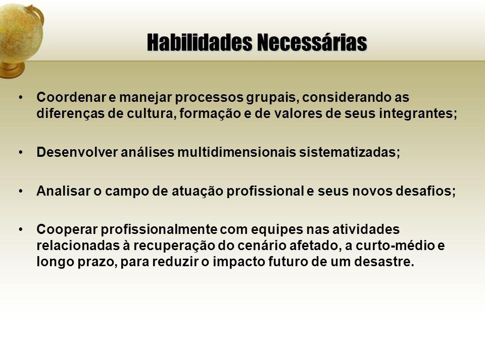 Habilidades Necessárias Coordenar e manejar processos grupais, considerando as diferenças de cultura, formação e de valores de seus integrantes; Desen